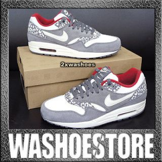2012 Nike Wmns Air Max 1 Leopard White Red Charcoal Atomos 319986 099