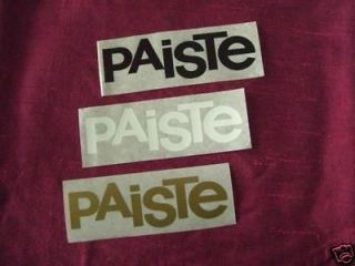 Paiste cymbal drum logo sticker decal black white gold grey