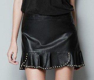 N16 New Autumn Women Joint Rivet Leather Tiered Short Mini Skirt BLACK