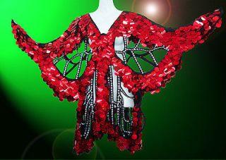 Red Sequin Butterfly Coat Dance Dress Showgirl Drag Queen Cabaret