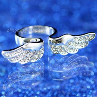 Angel Wing Quality Ring use Swarovski Crystal UK size M,O,Q   SR066