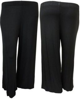 LADIES PLUS SIZE BLACK PLAIN WIDE LEG PALAZZO TROUSERS FLARED PANTS 12
