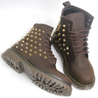 Mens Brown Gold Studded Spike Zip Combat Boots US6~11/ Mans Military