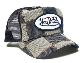 Authentic Brand New Von Dutch Black Denim Cap Hat Trucker Mesh Patch