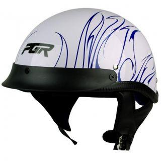 PGR B31 CONVICT WHITE BLUE Motorcycle DOT APPROVED Half Helmet Chopper