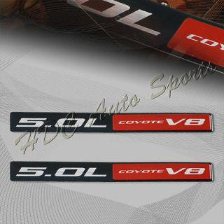 2x Universal Red/Black Coyote 5.0L V8 Aluminum Sticker Decal Emblem Ba