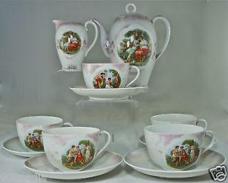 VINTAGE PORCELAIN TEA/COFFEE SET OF 12 VICTORIA CHINA FRAGONARD