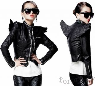 Womens Punk 3D Angel Wings Zips PU Leather Close fitting Motorcycle