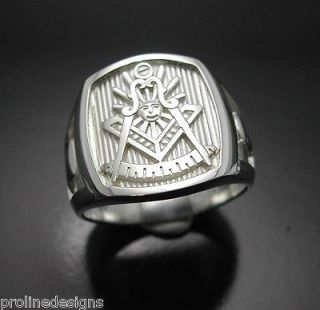 Past Master #008 Sterling Silver Masonic Ring Polished Finish Blue