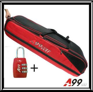 T01 A99 Golf Bag Travel cover Wheel red/black +TSA lock