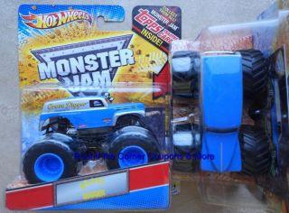 2012 Hot Wheels Monster Jam GRAVE DIGGER BLUE SILVER GRAIN TRUCK 164