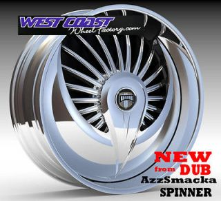 28 DUB AzzSmacka Spinner WHEEL RIMS Set NEW SKIRTZ Spinners Spin