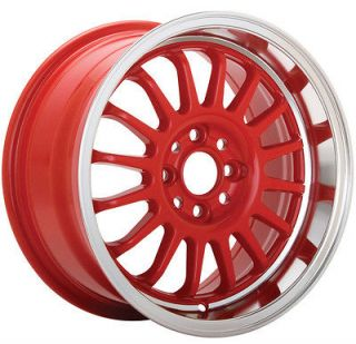 KONIG RETRACK 15X7 4X100 ET40 RED WHEELS FIT MINI COOPER CIVIC SI