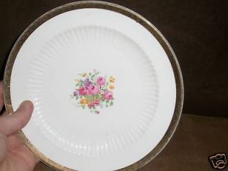 ANTIQUE ROYAL CHINA FLORAL 22kt ETCHED GOLD DINNERWARE