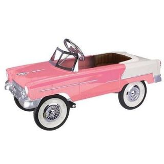 New 1955 Chevy/Chevrole t Convertible Pink & White Pedal Car w/ Chrome
