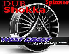 24 DUB SHOKKA S601 Spinner WHEEL RIMS Set SKIRTZ Spinners NEW Floater