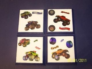 Monster Trucks Big Wheels Wall Plaques Decor bedding 5 nursery signs