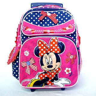 Minnie Mouse 16 Pink Blue Girls Rolling Backpack Rucksack Bag wheels