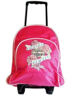 Harley Davidson Girls Kids Rolling Backpack Tote School Supplies NWT