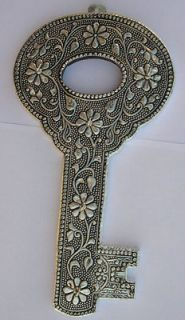 KEY HOLDER Home Wall Decoration antique silver tone tribal gothic