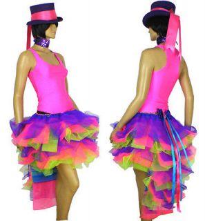 Carnival Mardi Gras Burlesque Neon Pink Purple Green TuTu Dress Up