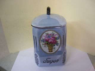 Beautiful Vintage Victoria China SUGAR Jar Czechoslovakia Lustreware