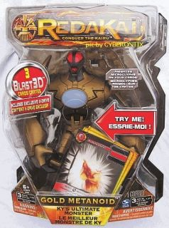 2011 Redakai Big Gold Metanoid Action Figure 7 Exclusive x Drive Card
