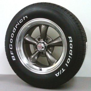 THRUST STYLE WHEEL GRAY 15X7 ON 215 65R15 BFG T A TIRES MUSCLECAR RIMS