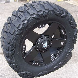 22 Black Rockstar Wheels 37 Nitto Mud Grappler Chevy GMC Sierra 1500