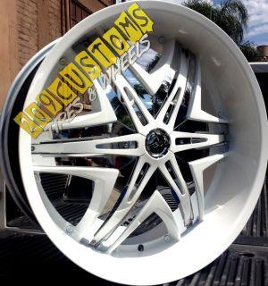 26 inch Wheels Rims Tires Diablo Elite White 5x115 Charger 2009 2010