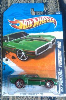 2011 Hot Wheels 67 Pontiac Firebird 400 86 244 Red Line Rims