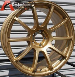 18x9 Rota G Force Wheels 5x114 3 Gold Rims 25mm Fits Evolution 2004