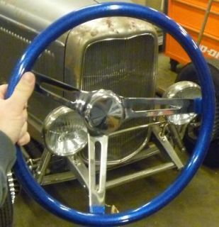 VTG STYLE BLUE METALFLAKE STEERING WHEEL RAT HOT ROD CUSTOM BOMB
