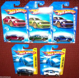 Hot Wheels Ford MUSTANG 2007 Shelby GT500 blue black white red green