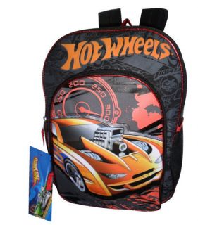 Hot Wheels Backpack School Bag 16 Large Racing Cars New