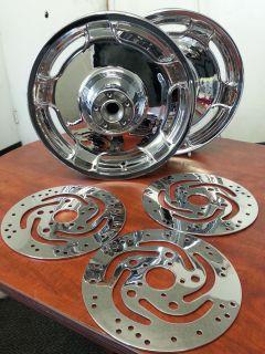 Chrome Street Glide Wheels w High Polished Rotors 2000 2008