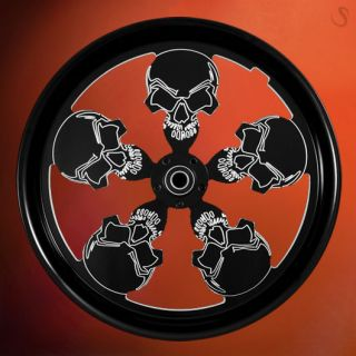 Harley Skull Wheels 26 Set Black Billet Custom Rims