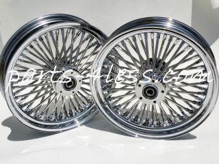 Fat Spoke Harley 50 Spoke Wheels FLH Roadking 00 up 18x3.5 Set Chrome
