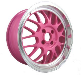 15 SPUN SUPAMESH PINK RIMS WHEELS 15x6.5 +40 4x100 YARIS CIVIC INTEGRA