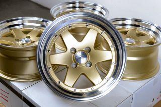 15x8 Gold Effect Wheels Rims 4x100 0mm offset Civic Corolla Cobalt