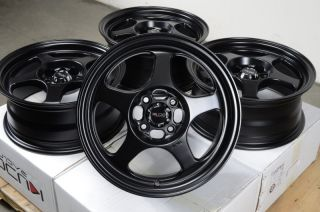 15 Matt Black Wheels Rims 4x100 Spectra Miata Lancer Sentra Scion XA