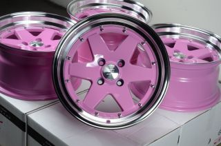 15x8 Effect Wheels Rims 4x100 Pink ZERO offset Civic Miata Corolla Mr2