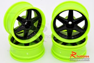 Racing Touring DRIFT Car 6 Spoke 6mm DRIFT LP26 Wheels Rims 4pc G B