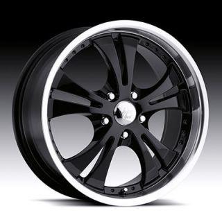 5x110 Black Machined Lip Vision Shockwave Wheels Rims 5 Lug 17x7 42