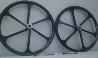 Pair Teny Rim Composite Mountain Bike Mag Wheels 26 Black White Quick