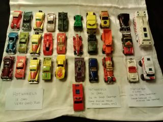 Lot Vintage Hot Wheels, Matchbox Cars, 30 total cars, Various Styles
