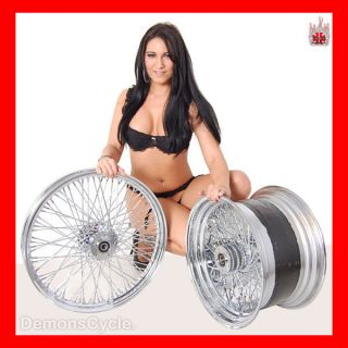 21 18x10 5 CHROME RIMS WHEELS 80 SPOKES 300 WIDE TIRE SET FITS CUSTOM