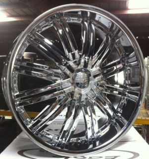 26 Wheels Rims Package Free Tires Red Sport RSW99 Chrome Deep Lip