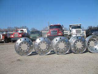 Eight Aluminum Rims 24 5 x 8 25 Stud Pilot 10 Hole Lug Wheels