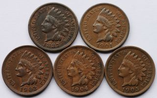 1902 1904 1905 Indian Head Cents Full Liberty Date Rims Nice Detail NR